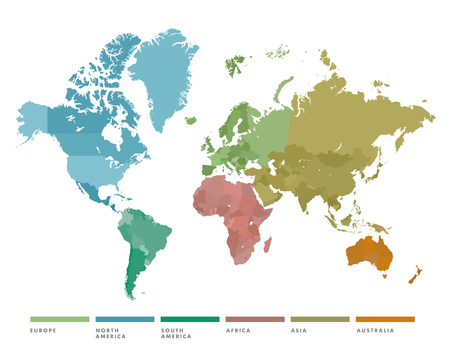 World map with continent in different color. Vector illustration