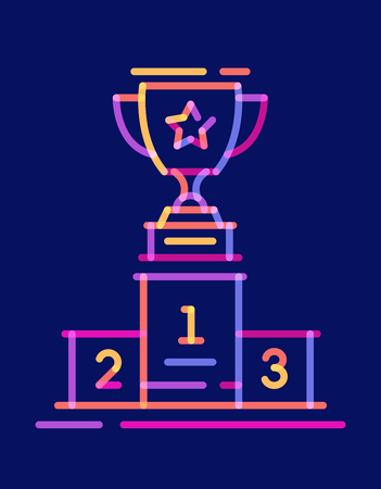 Overlay line icon trophy cup on the podium. Vector illustration on dark blue background