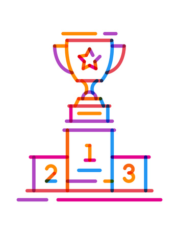 Multiply icon line trophy cup on the podium. Vector illustration on white background