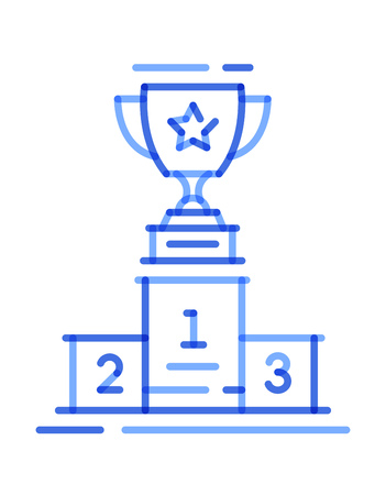 blue icon line trophy cup on the podium. vector illustration
