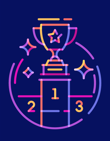 Overlay line icon trophy cup. Vector illustration on dark blue background