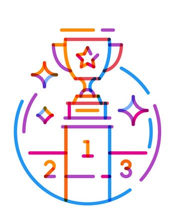 Multiplay icon line trophy cup on the podium. Vector illustration on white background