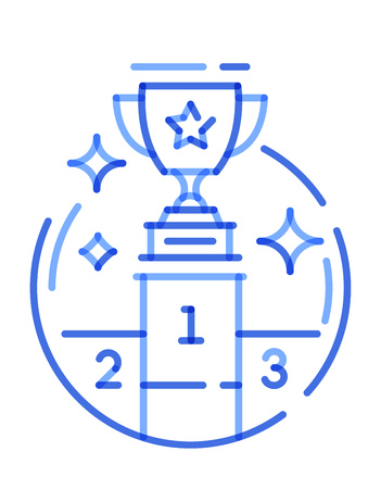 Blue multiplay icon line trophy cup on the podium. Vector illustration on white background 向量圖像
