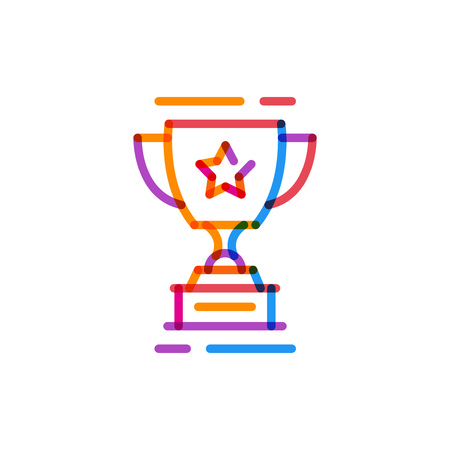 Multiplay icon line trophy cup. Vector illustration on white background