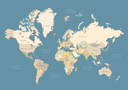World map with colored countries Ilustrace