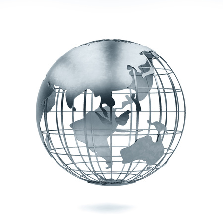 aluminum Metal globe 3d rendering