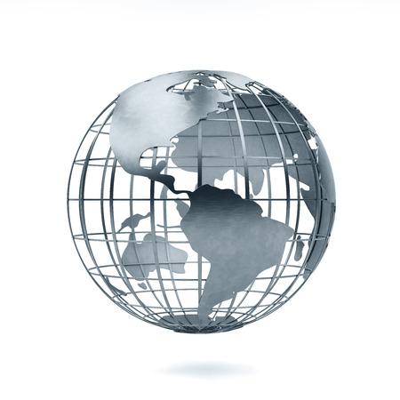 aluminum Metal globe 3d rendering 版權商用圖片 - 120994698