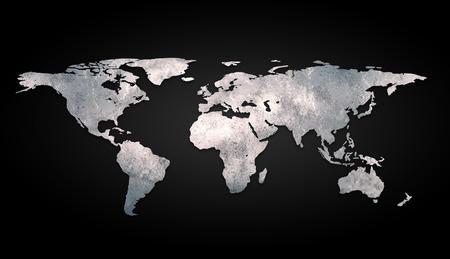 3d rendering metallic world map 版權商用圖片