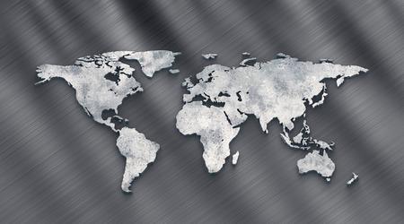 3d rendering metallic world map extrude