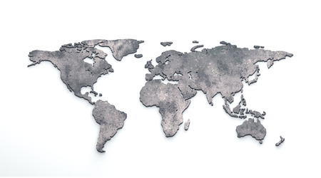 3d rendering metallic world map extrude on white background