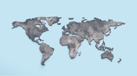 3d rendering metallic world map extrude on blue background 版權商用圖片