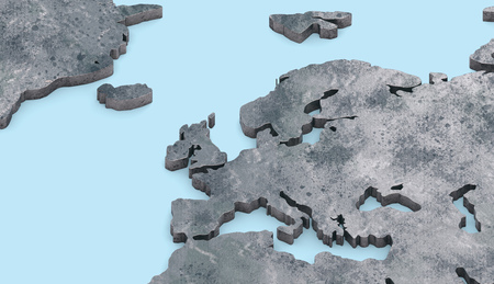 3d rendering metallic Europe map extrude on blue background