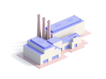 icon isometric factory - 3d Illustration 版權商用圖片 - 120994707
