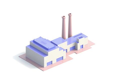 icon isometric factory - 3d Illustration 版權商用圖片