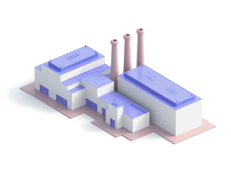 icon isometric factory - 3d rendering