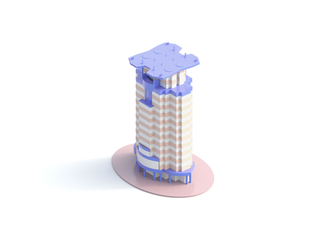 icon isometric building- 3d render 版權商用圖片 - 121052558