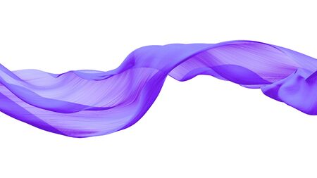 Purple fabric transparent on white Isolated background