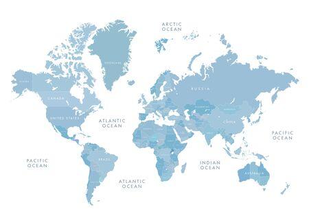 Niebieska mapa świata z etykietami Ilustracje wektorowe