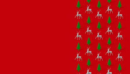 Minimalist isometric winter pattern with deer, 3d render