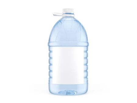 5L plastic bottles with white cap and label. 3d illustration Reklamní fotografie