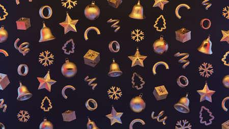 Xmas Festive pattern with decorative golden objects. Xmas elements decorations. 3d illustration Reklamní fotografie