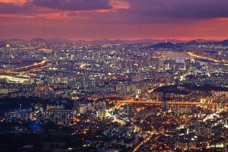 Cityscape viewed from Namhansanseong Stock Photo