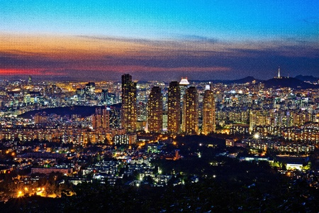 Cityscape by twilight photo