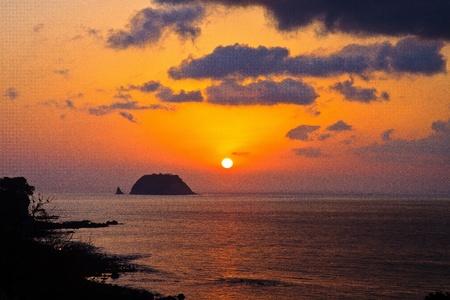 Sunrise over the island Stock Photo