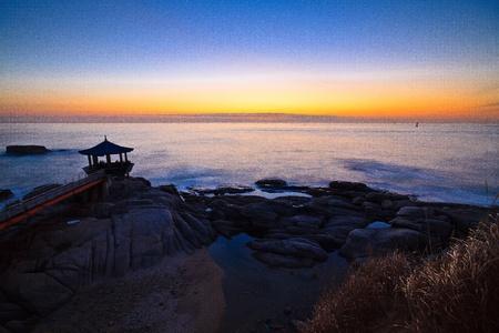 View of twilight over horizontal line