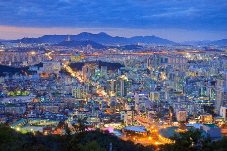 seoul: Cityscape by night Editorial