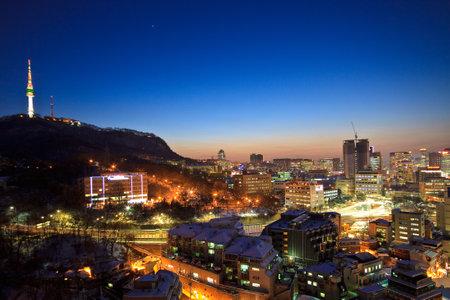 Seoul: City at dusk Editorial