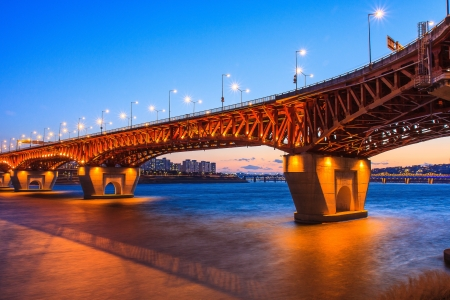 Bridge with lighting by dusk Stock Photo - 14350610