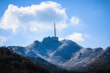 transmitting: Summit with transmitting station Stock Photo