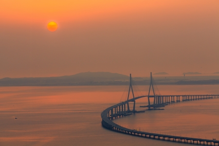Bridge viewed from above by sunset