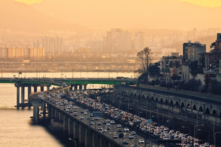 Traffic jam on freeway