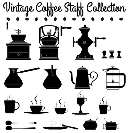 Collection of vintage oldschool coffee staff silhouettes