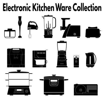 ware: Collection of electrical kitchen ware silhouettes