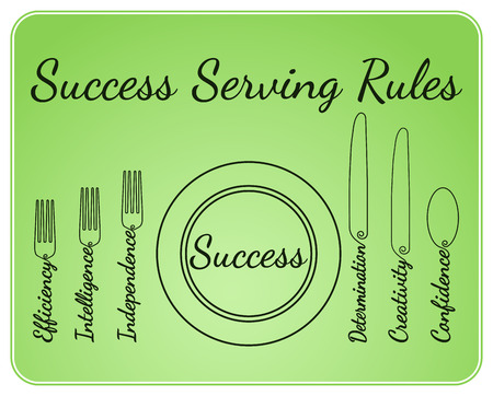butter knife: Artistic abstraction showing success elements in serving rules style