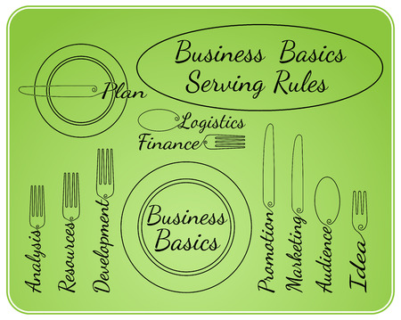 basics: Artistic abstraction showing business basics in serving rules style