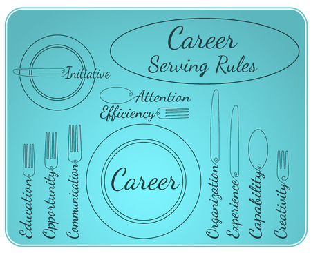 communication capability: Artistic abstraction showing career elements in serving rules style Illustration