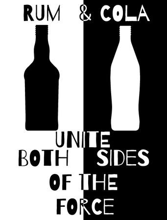 unite: Artistic concept of rum and cola