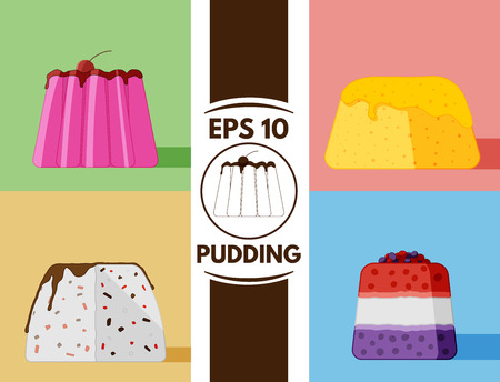 cute images: Collection of cute puddings images Illustration