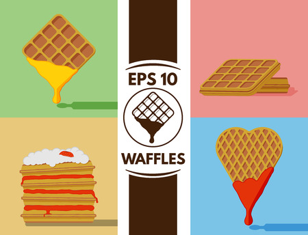 cute images: Collection of cute waffles images Illustration