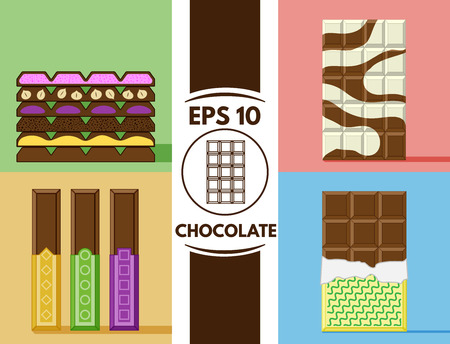 Collection of cute flat chocolate images
