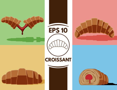 confiture: Collection of cute flat croissants images