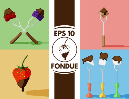 fondue: Collection of cute flat fondue images