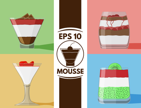 chocolate mousse: Collection of cute flat mousse glass images Illustration