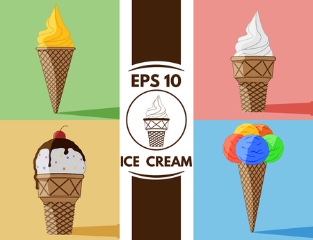 soft serve ice cream: Collection of cute flat Ice cream images Illustration