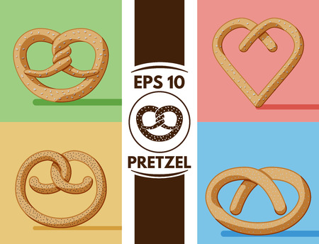 cute images: Collection of cute flat pretzel images Illustration