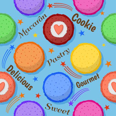 macaron: Cute colored macaron seamless pattern